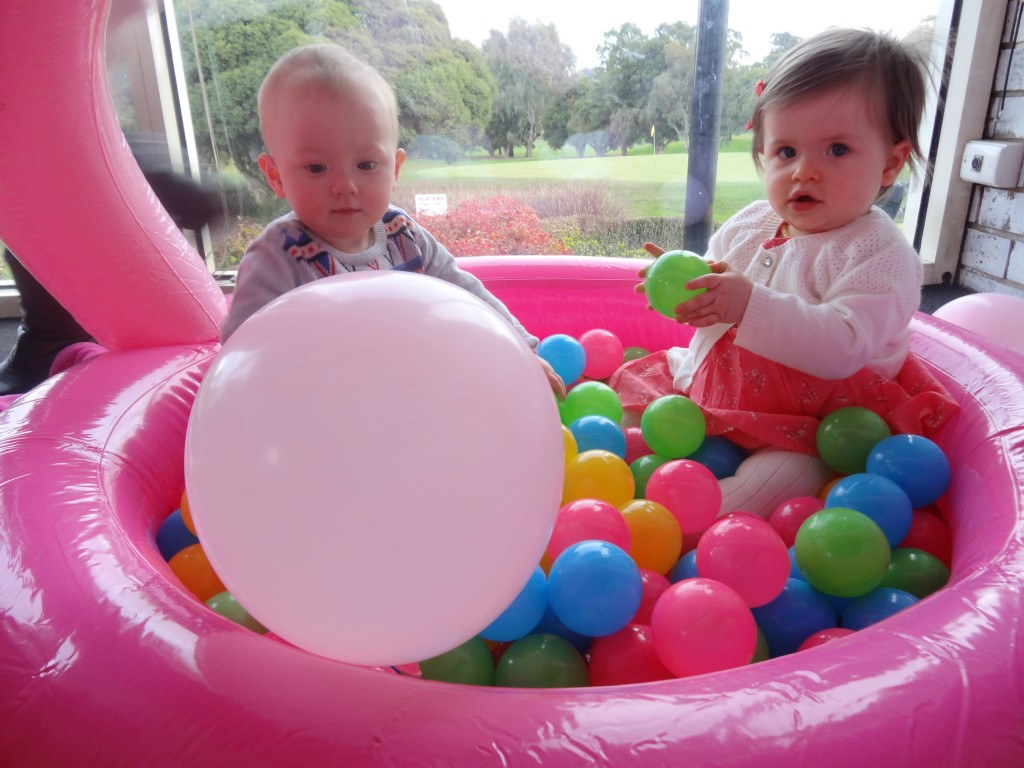 Millie's little friends Olivia and Isabel having a ball (geddit?)